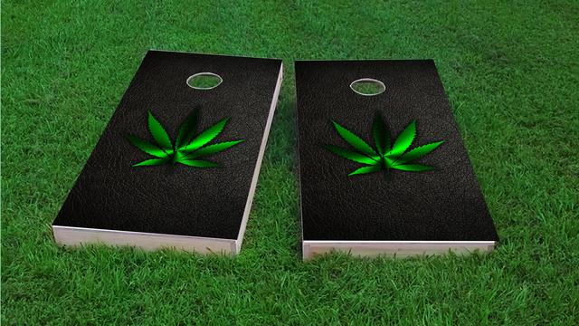 Weed Leather Themed Custom Cornhole Board Design