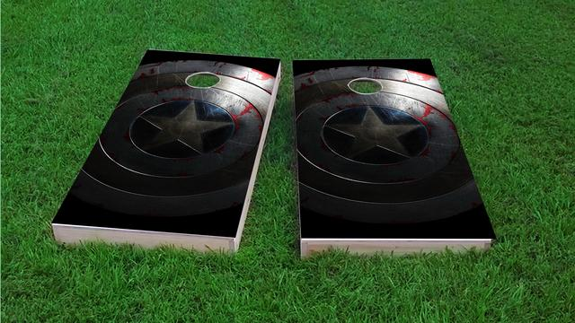 Captain America Shield Themed Custom Cornhole Board Design