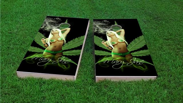 Mary Jane Model Themed Custom Cornhole Board Design