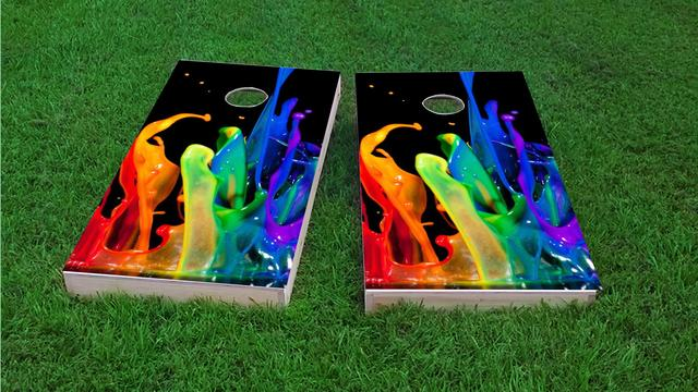Paint Splatter Themed Custom Cornhole Board Design