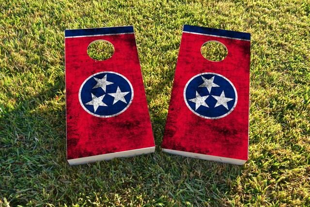 Worn State (Tennessee) Flag Themed Custom Cornhole Board Design
