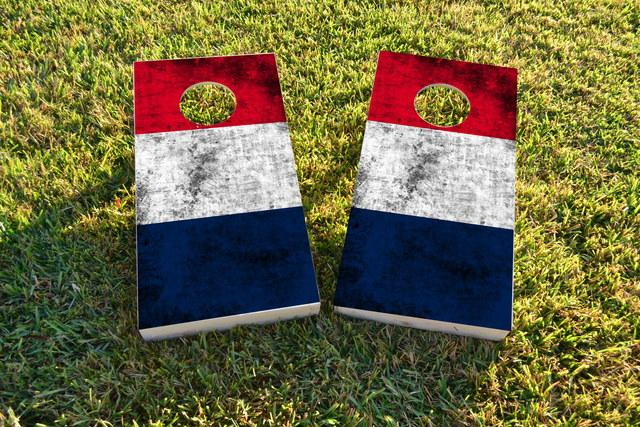 Worn National (France) Flag Themed Custom Cornhole Board Design