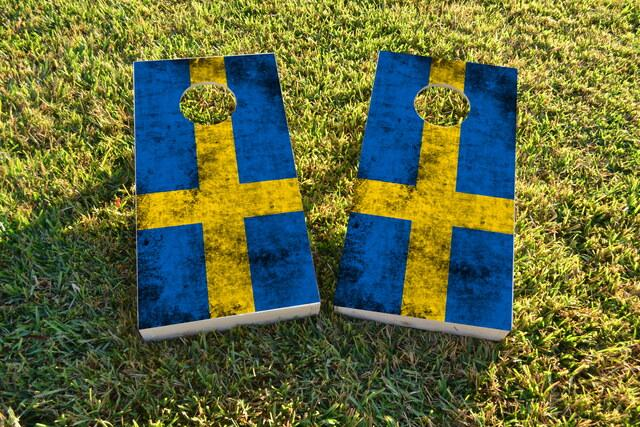 Worn National (Sweden) Flag Themed Custom Cornhole Board Design