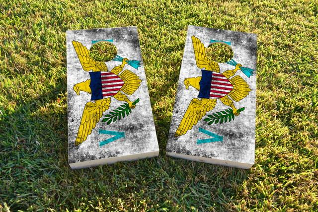 Worn National (Virgin Islands) Flag Themed Custom Cornhole Board Design