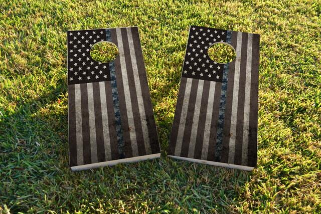 American Thin NWU (Navy) Line Themed Custom Cornhole Board Design