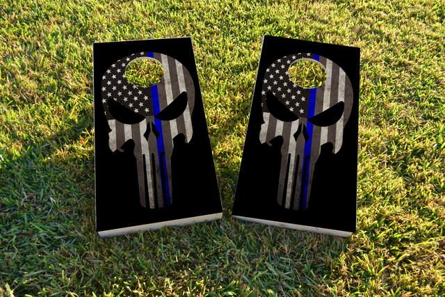 Blue Line Punisher Themed Custom Cornhole Board Design
