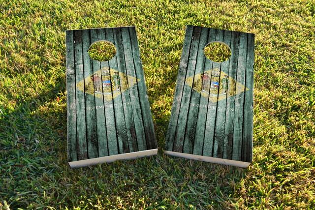 Distressed Wood Flag (Delaware) Themed Custom Cornhole Board Design