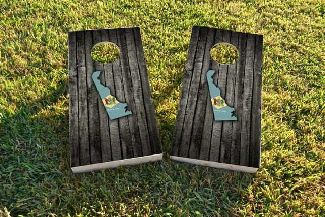Wood Slate State Flag & Map (Delaware) Themed Custom Cornhole Board Design