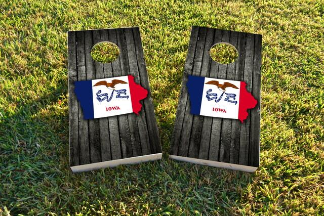 Wood Slate State Flag & Map (Iowa) Themed Custom Cornhole Board Design