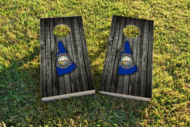 Wood Slate State Flag & Map (New Hampshire) Themed Custom Cornhole Board Design