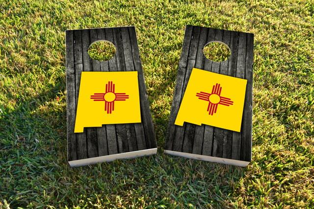 Wood Slate State Flag & Map (New Mexico) Themed Custom Cornhole Board Design