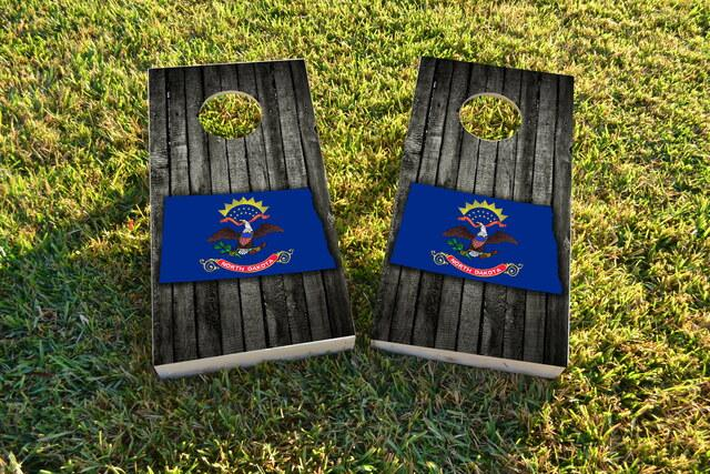 Wood Slate State Flag & Map (North Dakota) Themed Custom Cornhole Board Design