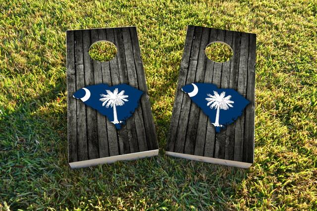 Wood Slate State Flag & Map (South Carolina) Themed Custom Cornhole Board Design