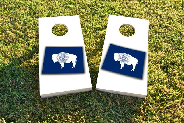 Wyoming State Flag Outline (White Background) Themed Custom Cornhole Board Design