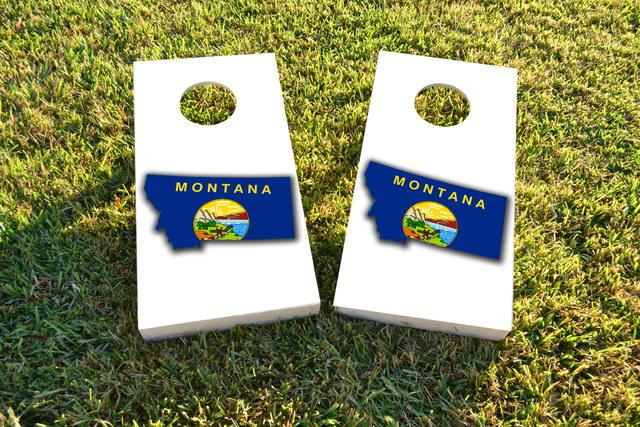 Montana State Flag Outline (White Background) Themed Custom Cornhole Board Design