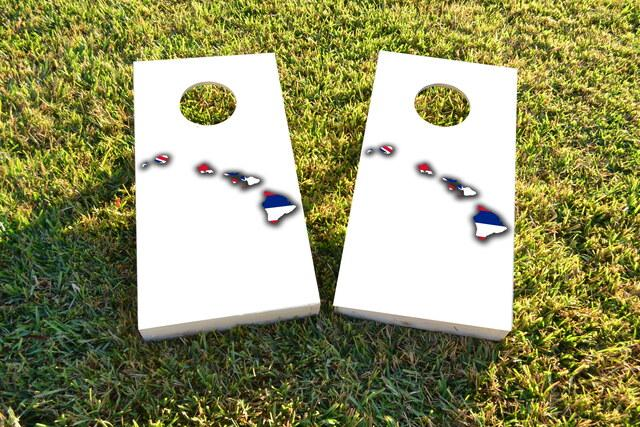 Hawaii State Flag Outline (White Background) Themed Custom Cornhole Board Design