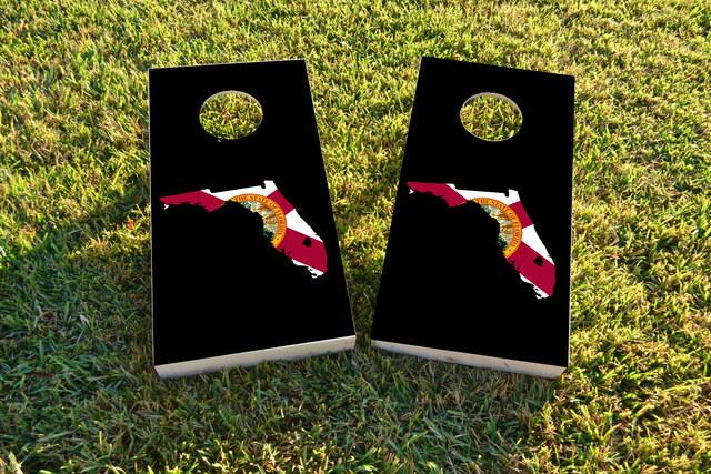 Florida State Flag Outline (Black Background) Themed Custom Cornhole Board Design
