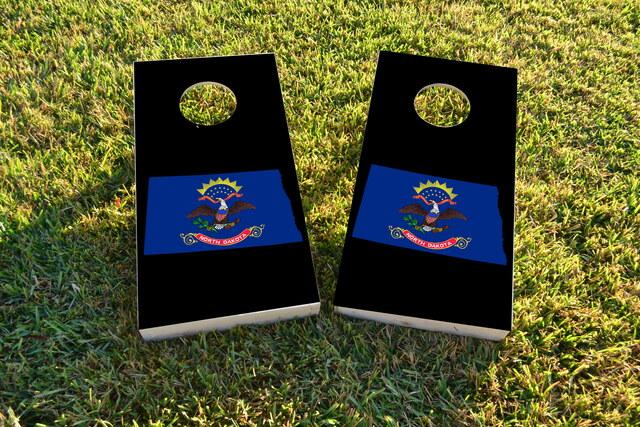North Dakota State Flag Outline (Black Background)  Themed Custom Cornhole Board Design
