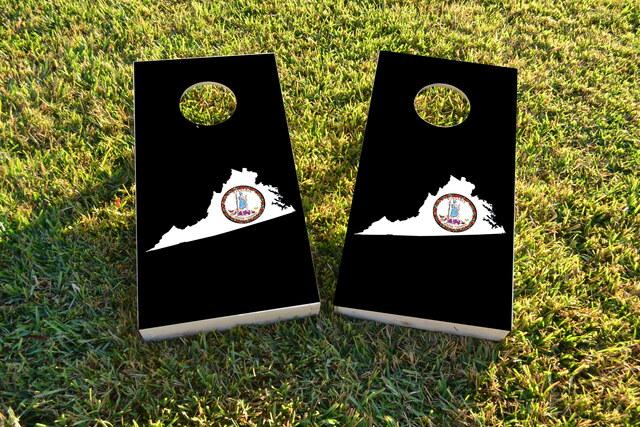 Virginia State Flag Outline (Black Background) Themed Custom Cornhole Board Design