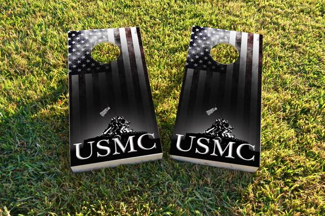 USMC Distressed American Flag Themed Custom Cornhole Board Design