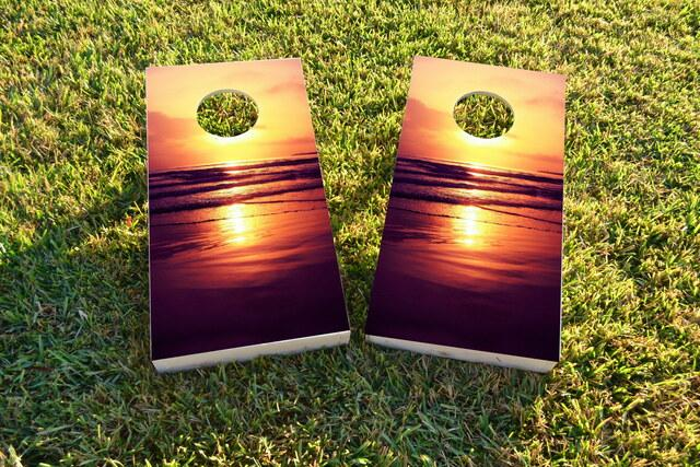 Orange Sunset On The Beach Themed Custom Cornhole Board Design