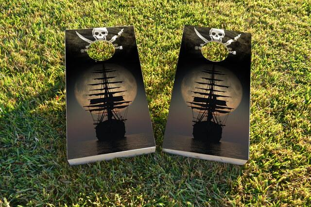 Pirate Ship on the Ocean In The Moonlight Themed Custom Cornhole Board Design