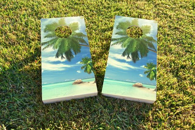 Palms Off The Beach on a Sunny Day Themed Custom Cornhole Board Design