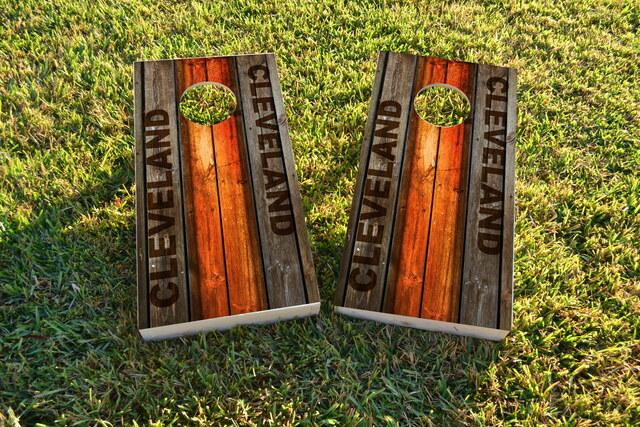 Woodslat Worn Cleveland Football Themed Custom Cornhole Board Design