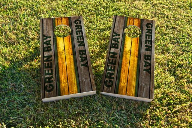 Woodslat Worn Green Bay Football Themed Custom Cornhole Board Design