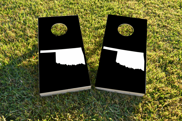 Black Oklahoma Themed Custom Cornhole Board Design