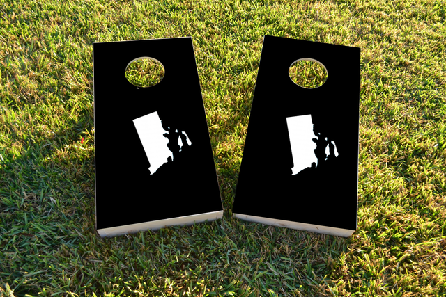 Black Rhode Island Themed Custom Cornhole Board Design