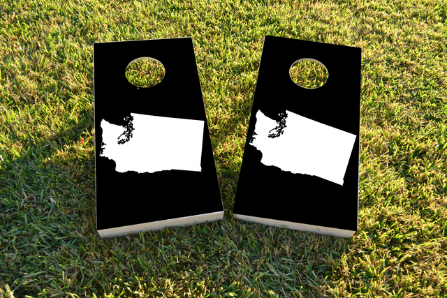 Black Washington Themed Custom Cornhole Board Design