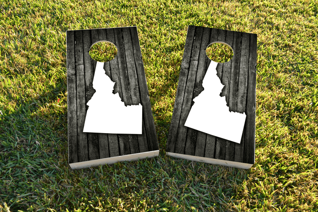 Wood Slate (Idaho) Themed Custom Cornhole Board Design