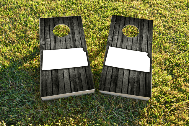 Wood Slat State (Kansas) Themed Custom Cornhole Board Design