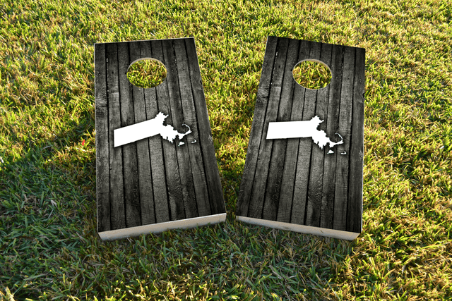 Wood Slat State (Massachusetts) Themed Custom Cornhole Board Design