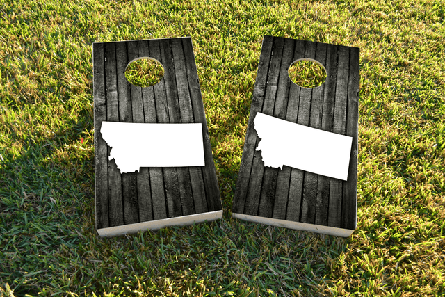 Wood Slat State (Montana) Themed Custom Cornhole Board Design