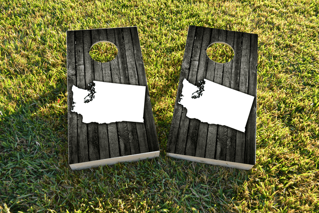 Wood Slat State (Washington) Themed Custom Cornhole Board Design