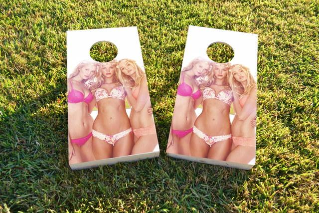 Sexy Bikini Models Themed Custom Cornhole Board Design