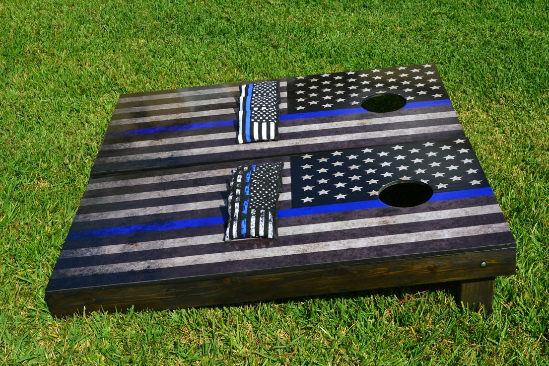 American Flag Thin Blue Line Cornhole Boards Image 2