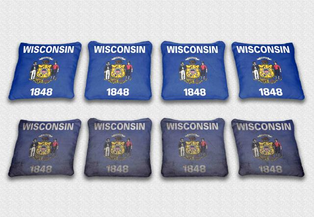 Wisconsin State Flag Themed Custom Cornhole Bags