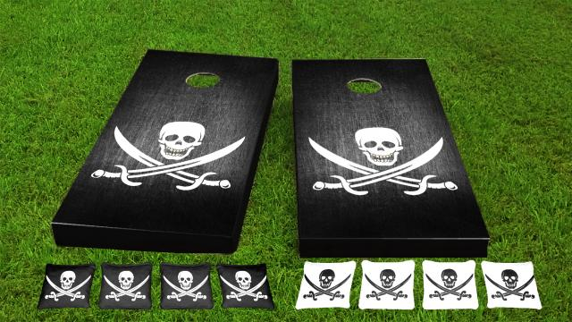 Pirate Ship and Flag Themed Cornhole Boards