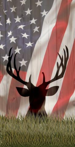 American Flag With Deer Faded Themed Custom Cornhole Board Design