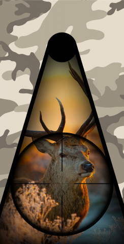 Camo Deer Hunter Themed Custom Cornhole Board Design