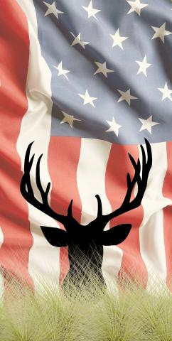 Faded American Elk Themed Custom Cornhole Board Design