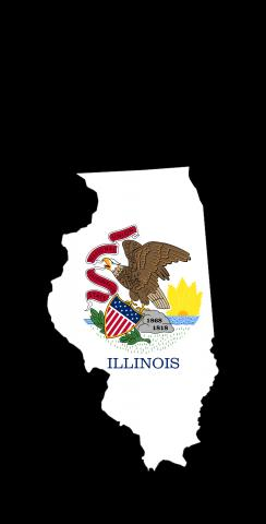 Illinois State Flag Outline (Black Background) Themed Custom Cornhole Board Design