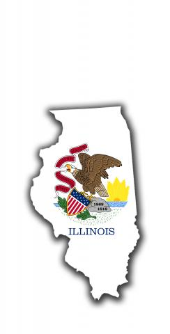 Illinois State Flag Outline (White Background) Themed Custom Cornhole Board Design