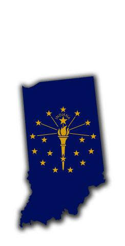 Indiana State Flag Outline (White Background) Themed Custom Cornhole Board Design