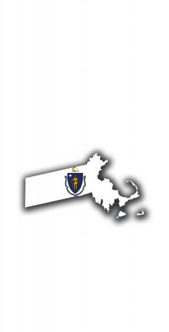 Massachusetts State Flag Outline (White Background) Themed Custom Cornhole Board Design