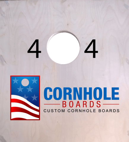 Navy Jet Flying Over Aircraft Carrier Themed Custom Cornhole Board Design