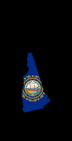 New Hampshire State Flag Outline (Black Background) Themed Custom Cornhole Board Design